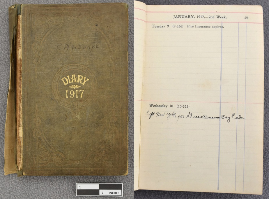 1917 weekly time book & old leather souvenir notepad.
