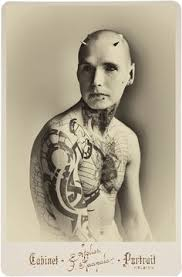 Cabinet cards of tattoos from the 1880's to 1910. The originals can be purchasedhere.
